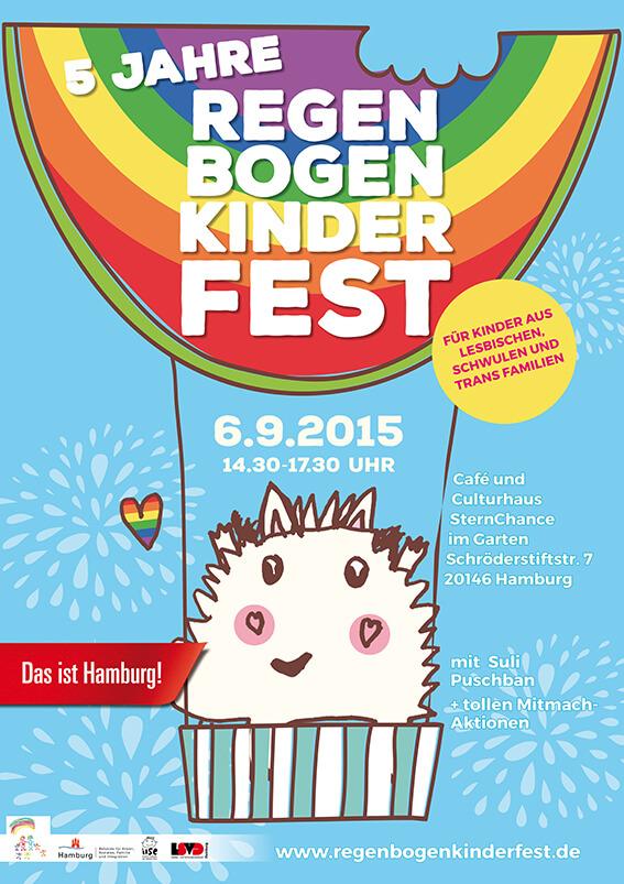 Das Plakat für das Regenbogenkinderfest am 6.9.2016
