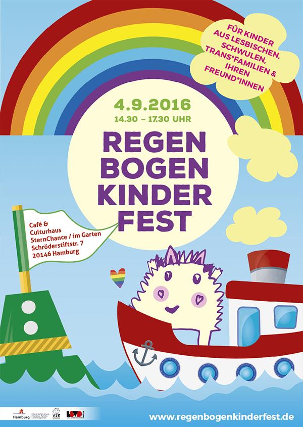 Plakat vom Regenbogenkinderfest 2016