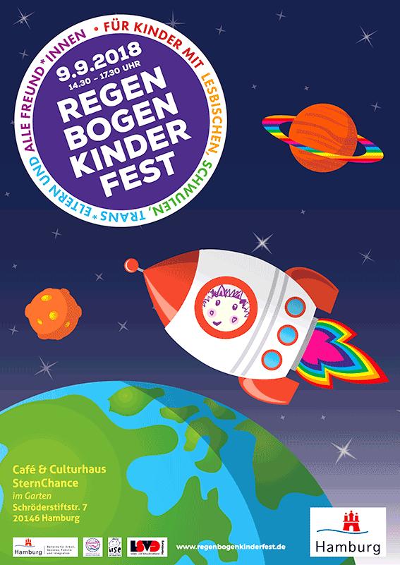 Plakat vom Regenbogenkinderfest 2018: Regenbogenkinderfest für Kinder mit lesbischen, schwulen, trans*Eltern und alle Freund*innen